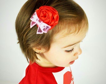 Red and Pink Rosette Flower Baby Hair Clip,Toddler Hair Clip,Hair Clip for Babies and Toddlers,Valentines Day Hair Clips, Liv & Co.™