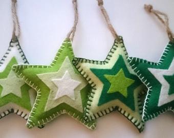 Set of 4 Felt Christmas decorations / ornaments, green stars