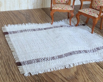 Doll house floor rug hand woven linen mat for dollhouse textile natural gray white miniature carpet
