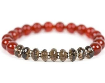 Red Agate Bracelet, Smoky Quartz Bracelet, Grounding and Protection Bracelet, Gemstone Bracelet, Handmade Jewelry, Gemstone Jewelry