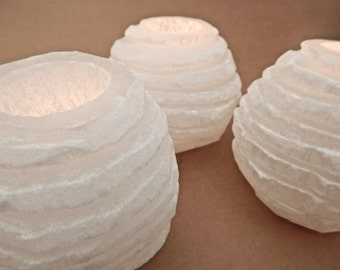 White Selenite 60's Style Mid Century Candle Holders, Set of Three