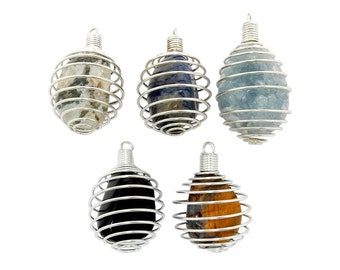Wire Cage Tumble Stone Holder - Cage Only - Silver Toned Wire Tumbled Stone Cage (RK85B11-01)