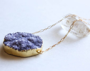 "Purple Druzy Crystal Necklace, 26"" 14k Gold Fill Fancy Cable Chain"
