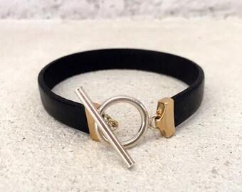 Leather gold bracelet