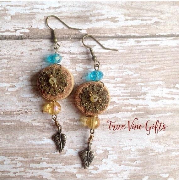 Cork Beads: Wine Cork Earrings With Aqua Glass Beads By TrueVineGifts