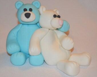 Fondant Teddy Bear Cake Topper for Baby Shower, teddy bear wedding cake topper, 2 fondant teddy bears