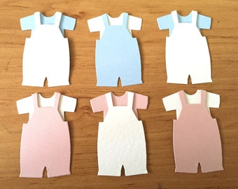 10 Assembled Baby Boy & Baby Girl Outfits Baby One piece Baby Clothes Baby Dungree Die Cuts Card Toppers for Baby Craft Cards Scrapbooking
