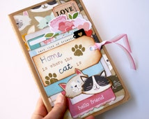mixed media cat notebook, medium Moleskine notebook with squared pages, pretty paper layers and hand embroidered tag