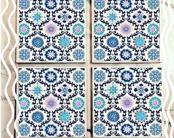Geometric Chic Tile Coasters