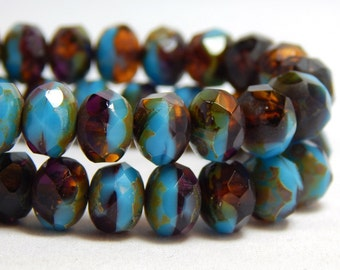 8x6mm Sky Blue and Brown Beads, Blue Beads, Rootbeer Brown and Blue Beads, Blue and Brown Beads, Sky Blue Beads, Blue Faceted Beads, T-063D