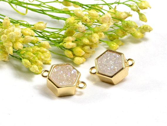 Hexagon Druzy in AB color, AB Druzy Connector, Natural Titanium Agate Drusy Gemstone Jewelry  - 1 pc/ pkg