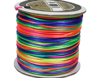 Rainbow neon bright nylon satin rat-tail 1mm cord - 80 yards per roll