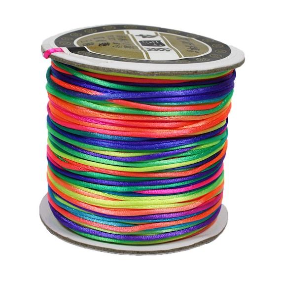 Rainbow neon bright nylon satin rat-tail 1mm cord - 80 yards per roll