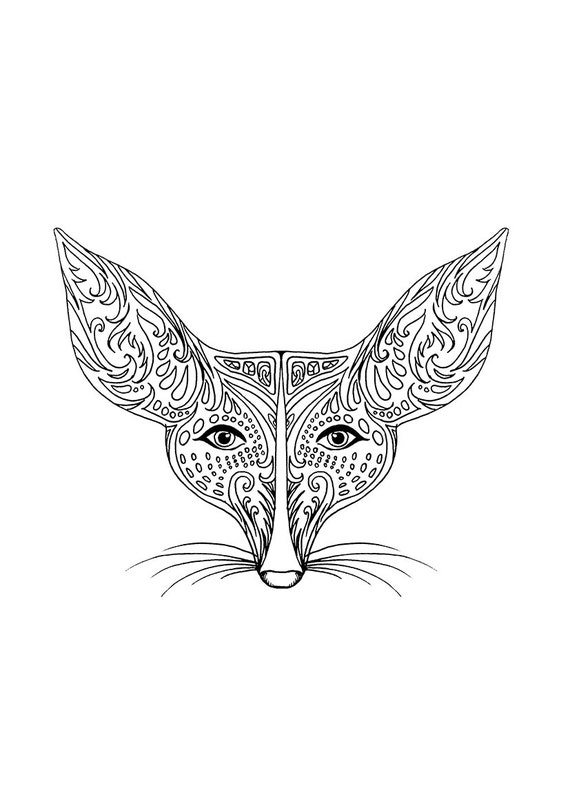 Items similar to Fennec Fox Printable Coloring Page, For ...