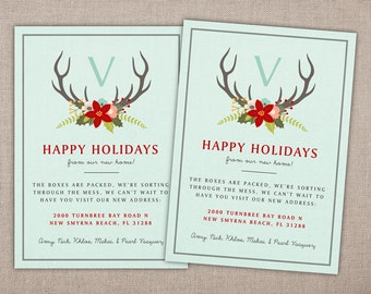 Happy Holidays Moving Announcement - Printable Card