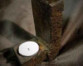 Tea light candle holder handmade from reclaimed Oak Beam