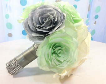 Mint green bouquet - Alternative bouquet - Paper flower bouquet - Bridal bouquet - Toss bouquet - Available in three different sizes
