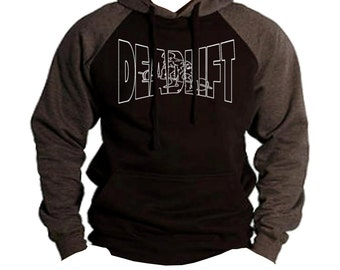 Deadlift Powerlifting Men's Two Tone Hoodie Charcoal/black  All size S-2XL