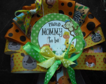 Mommy Baby shower Jungle Mommy To Be CORSAGE