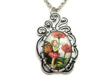 Fairy Necklace Zinnia Flower Fairy Necklace Fairy Jewelry Flower Faeries Jewelry Zinnia  Jewley Fairy Gifts Under 20 Zinnia Necklace