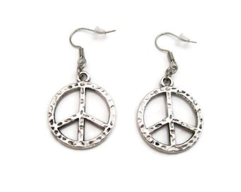 Peace Sign Earrings  Peace Earrings  Peace Sign Jewelry Peace Jewelry  Peace Gift Gifts For Her Hooks Or Clip on