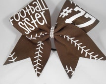 Cheer Bow Football Sister CUSTOM (your #)  on Double layer Brown grosgrain by BlingItOnCheerBowz