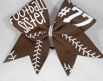 Cheer Bow Football Sister CUSTOM (your #)  on Brown grosgrain by BlingItOnCheerBowz