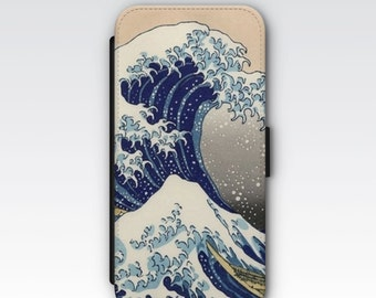 Wallet Case for iPhone 8 Plus, iPhone 8, iPhone 7 Plus, iPhone 7, iPhone 6, iPhone 6s, iPhone 5/5s - The Great Wave off Kanagawa by Hokusai