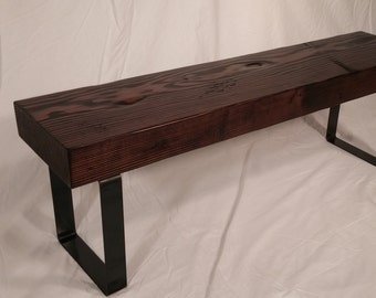 Rustic & Industrial Entryway Bench (Espresso)