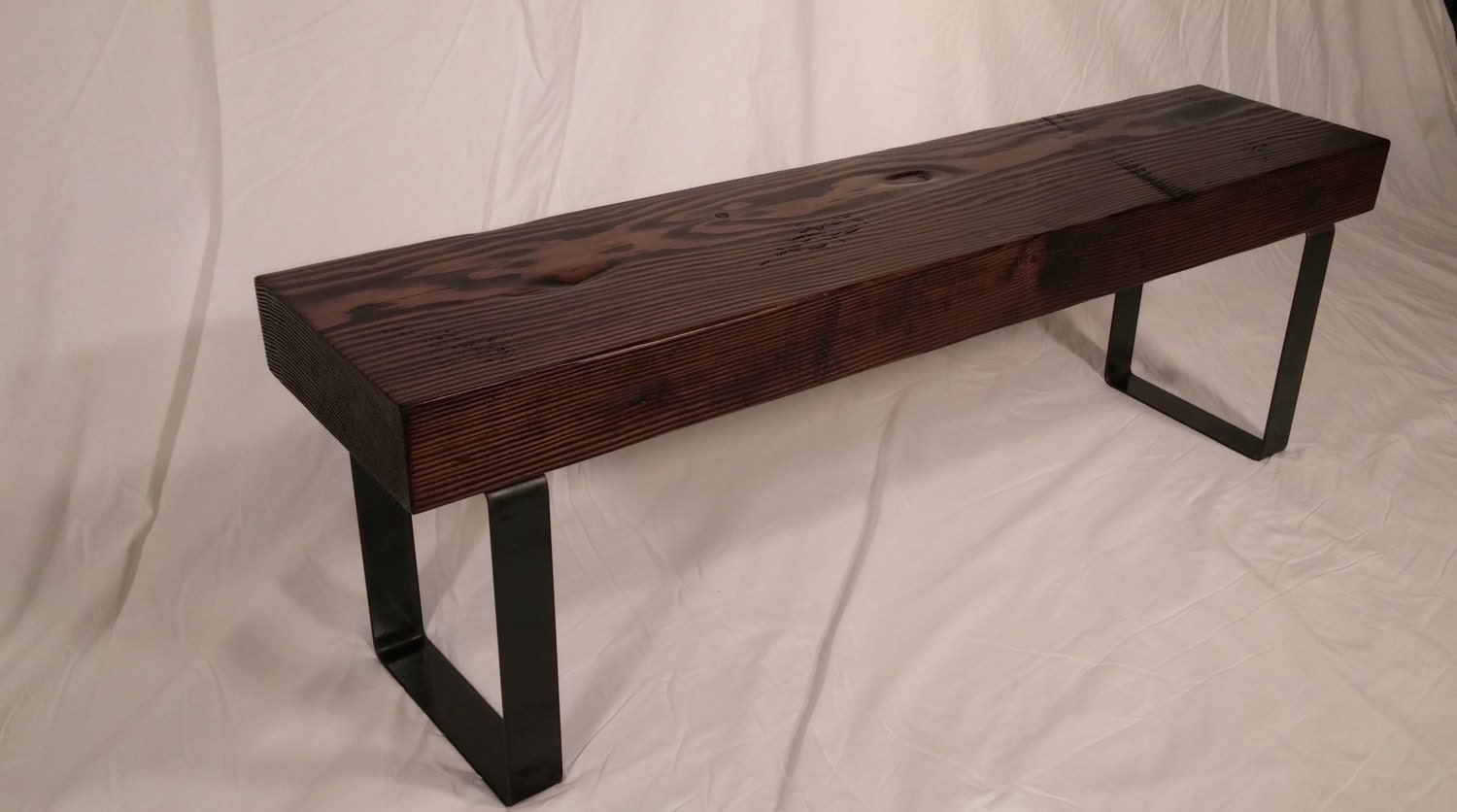 Rustic Industrial Entryway Bench Espresso