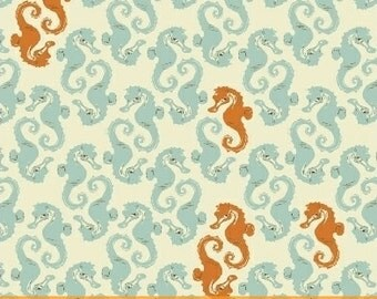 Heather Ross Mendocino for Windham Fabrics - Seahorses Light Blue on Cream