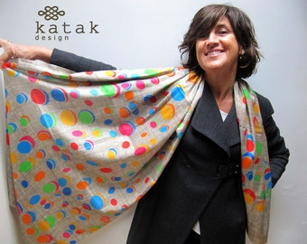 Pure silk long scarf with modern and multicolor pattern. Digital printing silk scarf