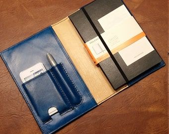 JOURNAL-SKETCHBOOK Cover-LEATHER-River Song Journal-Tardis-Customized- 1ofAKind Refillable-Phone and Pen Pockets-Customized-clbLeatherDesign