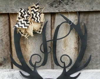 Antler Door Hanger - Distressed Initial Personalized Door Hanger - Monogram Antler Wreath - Personalized Door Decor