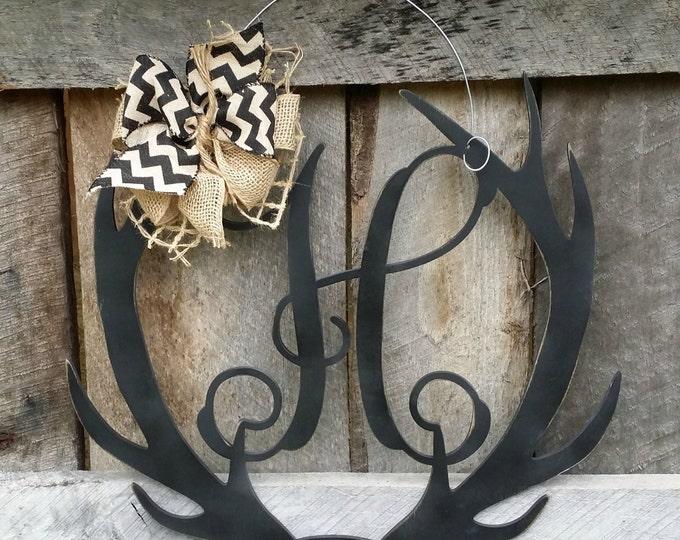 Antler Door Hanger - Distressed Initial Personalized Door Hanger - Monogram Antler Wreath - Personalized Door Decor
