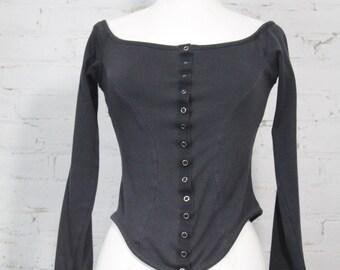 1980s Betsey Johnson Punk Label corset shirt top black snaps cotton P 4 6 S