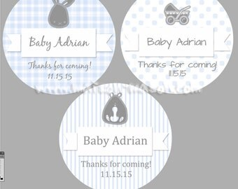 "Personalized Baby Shower Labels - It's a Boy Shower Favor Labels - Baby Boy - Choose any color - Mason Jar Stickers 1.5"", 2 or 2.5"" round"