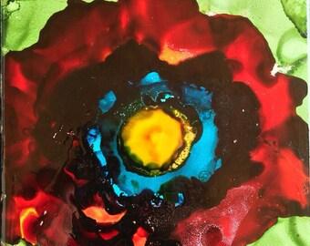 Poppy Flower Art Tile