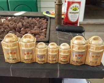 Lustreware porcelain canisters - vintage canisters - Lustreware vintage - Lustreware canisters - canisters made in Japan - canister vintage