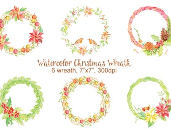 Watercolor Christmas Wreaths for instant download, watercolor clipart, wreath printable, wall art, Christmas Decor