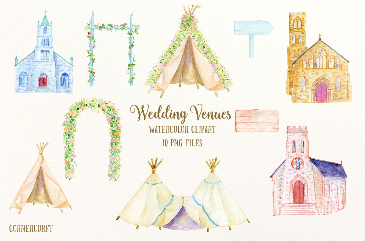 Watercolor Wedding Venues Wedding Churches Wedding Arch Teepee Wedding Clipart For Instant