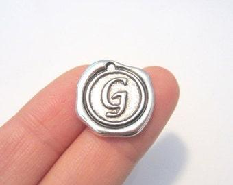 """20% OFF SALE- 2pcs Antique Silver Alphabet Letter """"G"""" Charm Pendants 18x18mm"""