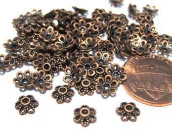100pcs Antique Copper Flower Bead Caps 6mm Filigree Bead Cap