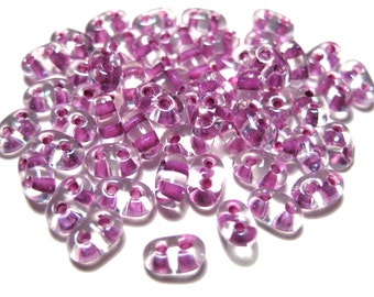 10 Grams Volet-lined Clear Terra Purple Preciosa Twin Seed bead Czech glass Bead 5x2.5mm oval with 2 holes