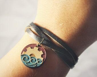 Korrasami from Legend of Korra Wood Bracelet - Hand Painted Maple Wood - Korra and Asami