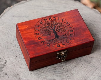 box, wooden box, engraved wooden box, tarot box, tarot, tarot cards, divination, custom box, keepsake box, casket, chest, pyrography