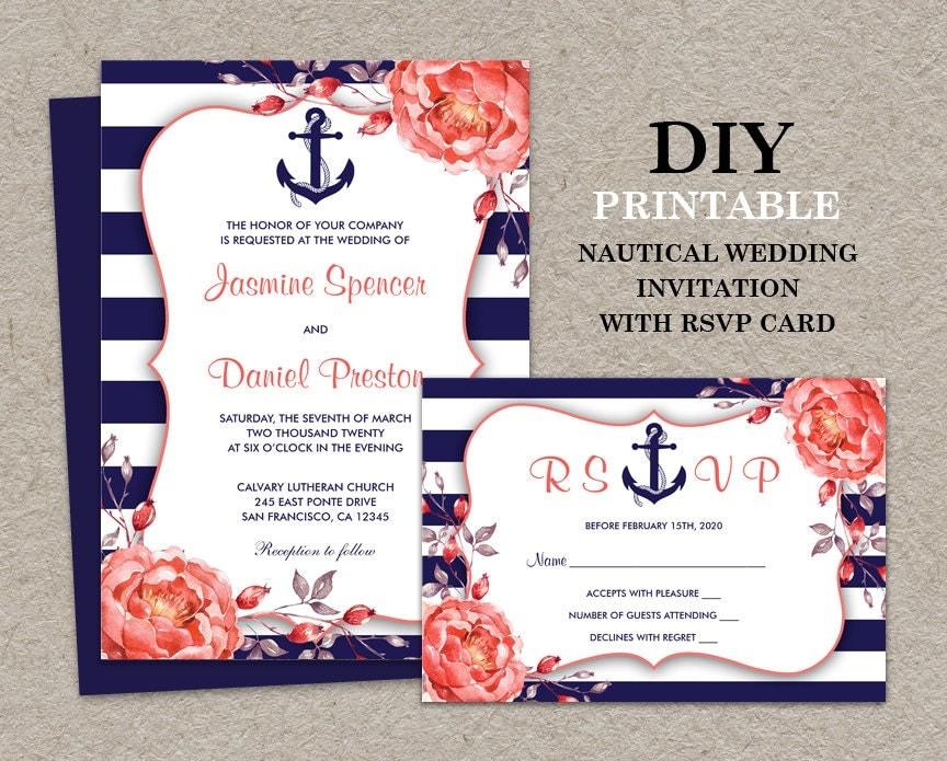 Striped Wedding Invitations: Nautical Wedding Invitation With RSVP Card DIY Printable