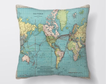 World Map - Cushion Fabric Panel Or Case or with Filling