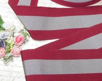 "2 1/4"" GRAY MAROON GROSGRAIN Vintage Ribbon Trim Art Deco Pattern Cocarde Flapper Cloche Millinery Hat Flower Fedora Stetson Wedding Cake"