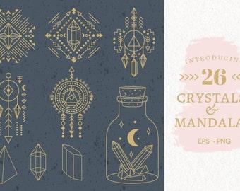 Geometri Crystals & Mandalas EPS,PNG // Geometric Shapes // Geometric Clipart Collection